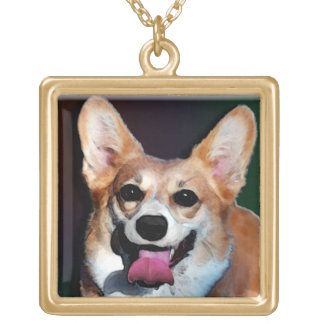 Corgi Satisfied Grin Gold Plated Necklace