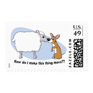 Corgi & Sheep Postage Stamps