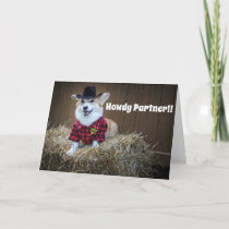 Corgi sheriff birthday card