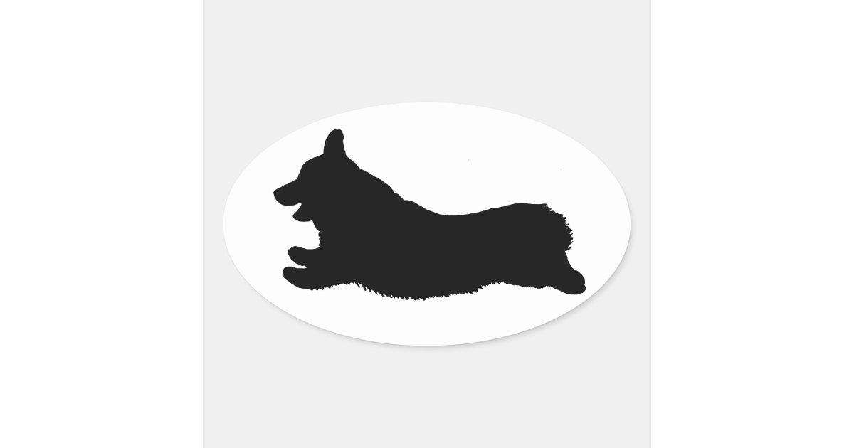 Corgi Silhouette Running Oval Sticker Zazzle Com
