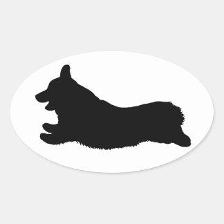 Corgi Silhouette - Running Oval Stickers