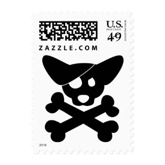Corgi Skull & Crossbones Postage Stamps (Black)