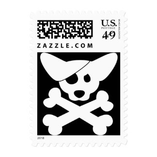 Corgi Skull & Crossbones Postage Stamps (White)