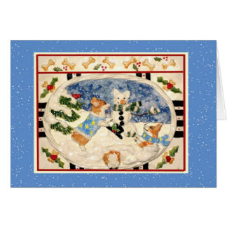 Corgi Snowman Christmas Card