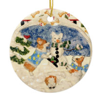 Corgi Snowman Ornament
