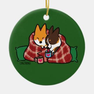 Corgi Snuggles Ornament