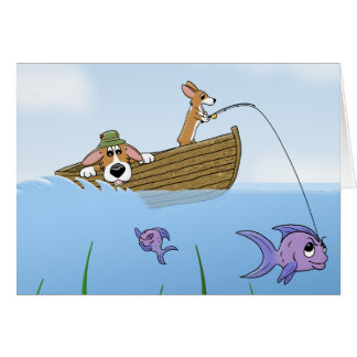 Corgi & Son Fishing Card