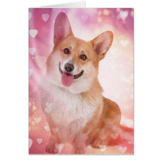 Corgi sonriente con la tarjeta del día de San Vale