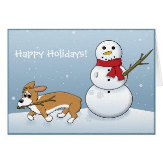 Corgi Steals Snowman's Arm Greeting Card