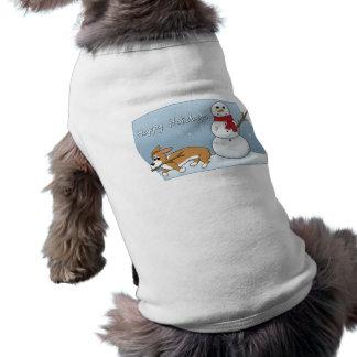 Corgi Steals Snowman's Arm Doggie Tee