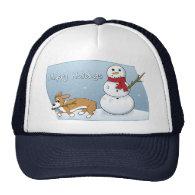 Corgi Steals Snowman's Arm Mesh Hat