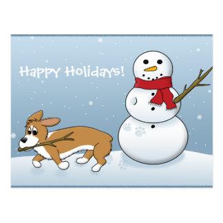 Corgi Steals Snowman's Arm Postcard