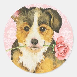 Corgi subió tarjeta del día de San Valentín Galés Pegatina Redonda