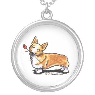 Corgi Sweetheart Round Pendant Necklace
