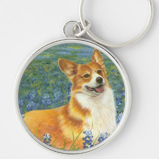 Corgi & Texas Bluebonnets Key Chain