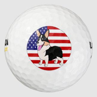 Corgi tricolor con la bandera americana pack de pelotas de golf