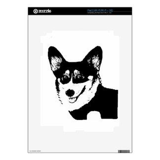 Corgi tricolor de cabeza negra Galés Calcomanías Para iPad 2