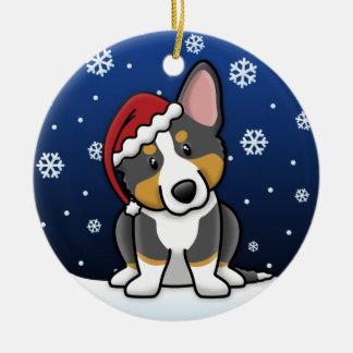 Corgi tricolor Galés de la rebeca del dibujo anima Ornamento De Navidad