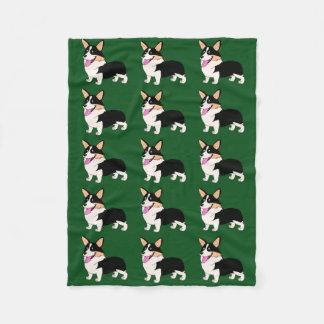 Corgi tricolor sonriente manta de forro polar