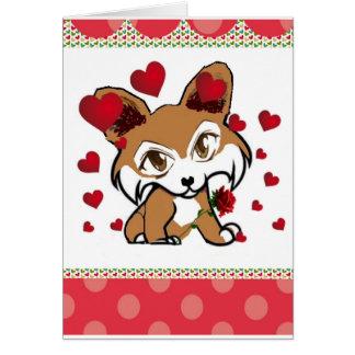 Corgi Valentine Cartoon Greeting Card