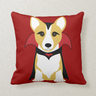 Corgi Vampire Halloween Throw Pillow