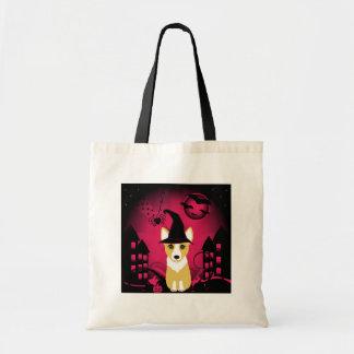 Corgi Witch Tote Bags
