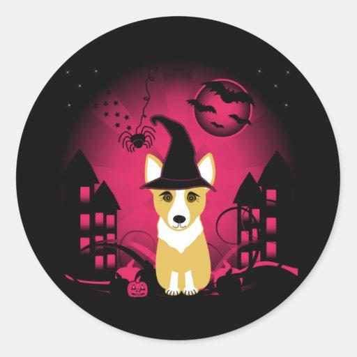 Corgi Witch Classic Round Sticker