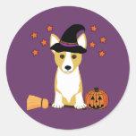 Corgi Witch Halloween Classic Round Sticker