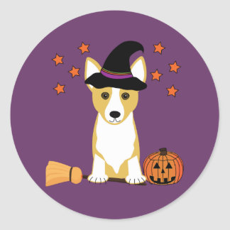 Corgi Witch Halloween Sticker