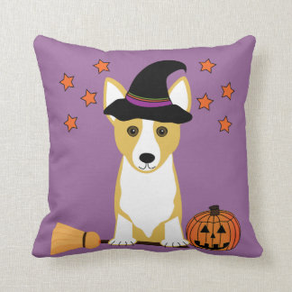 Corgi Witch Halloween Throw Pillow