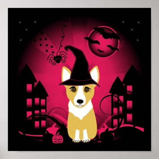 Corgi Witch Poster
