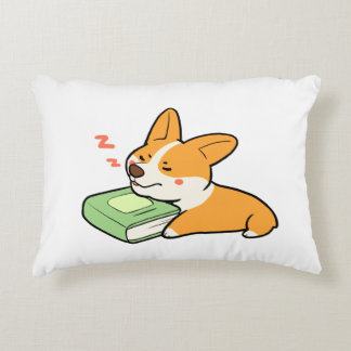 Corgi with book accent pillow