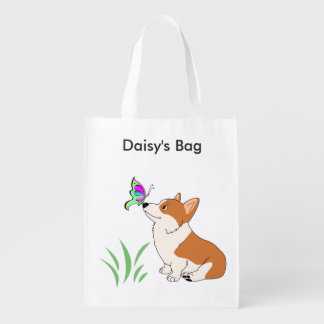 Corgi with Butterfly Reusable Bag Grocery Bags