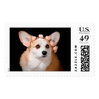 Corgi With Flowers in Her Hair Postage