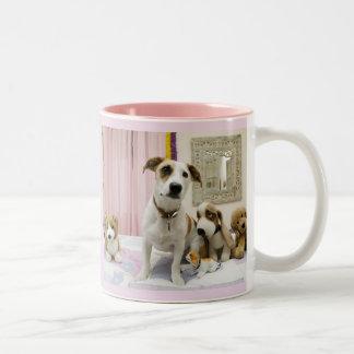 Corgi With Friends Two-Tone Coffee Mug