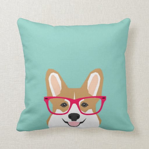Cute Pillows And Blankets : Corgi with Glasses - Hipster Dog, Cute Corgi GIft Throw Pillow Zazzle