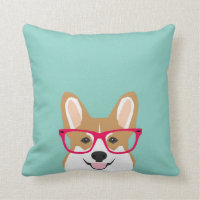 Corgi with Glasses - Hipster Dog, Cute Corgi GIft Throw Pillow