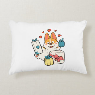 Corgi with presents accent pillow