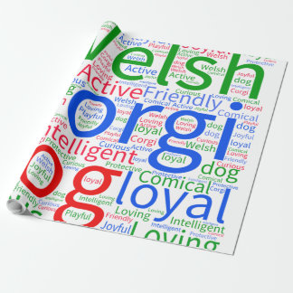 Corgi Word Cloud Wrapping Paper