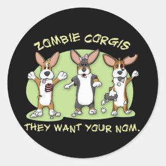 Corgi Zombies Classic Round Sticker