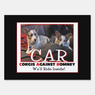 Corgis Against Romney Yard sign