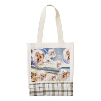 Corgis de la playa bolsa tote zazzle HEART