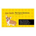 Corgi's Footprints Dog Care Yellow business card