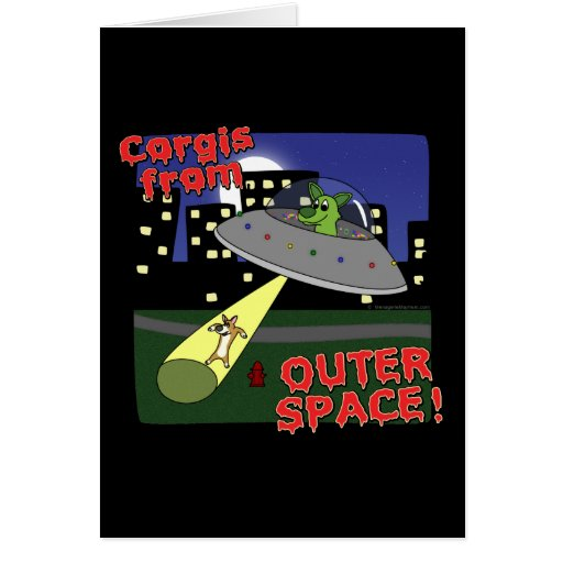 Corgis from Outer Space Greeting Cards