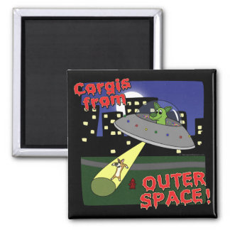 Corgis from Outer Space Refrigerator Magnet