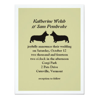 Corgis Galés del Pembroke que casan la invitación