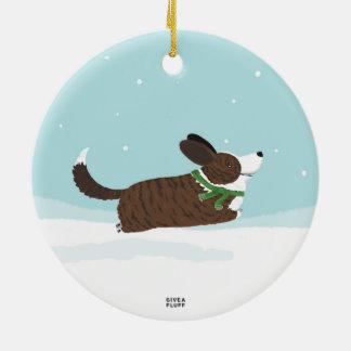 Corgis in the Snow Ceramic Ornament