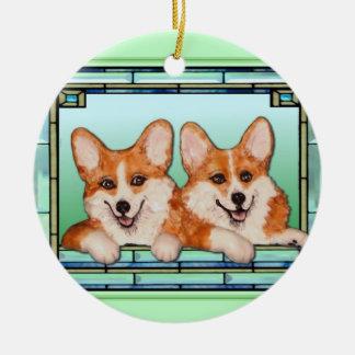 """""""Corgis in the Window"""" Corgi ornament"""