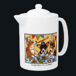 """Corgis know how to Party! Dog Teapot<br><div class=""""desc"""">Fun gift for Corgi lovers! Easy to change the text by using the 'personalize this template' option. Original Illustration by Susie McCaffrey.</div>"""
