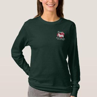 Corgis Leave Paw Prints Women's Dark Embroidered Long Sleeve T-Shirt